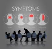 Concepto del dolor de cabeza de la atención sanitaria de la enfermedad de la enfermedad de los síntomas Imágenes de archivo libres de regalías