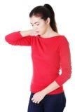 Concepto del dolor de cuello Imagen de archivo