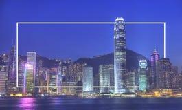 Concepto del edificio de Hong Kong City Urban Central Fotos de archivo