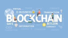 Concepto del ejemplo de Blockchain ilustración del vector