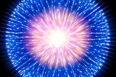 Concepto del ejemplo de la ciencia de la luz de la radiación del rayo del átomo Fotos de archivo