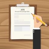Concepto del ejemplo del porcentaje anual de abril con la firma del hombre de negocios de la mano stock de ilustración