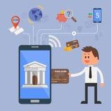 Concepto del ejemplo del vector de actividades bancarias de Internet Fotografía de archivo