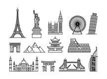 Concepto del ejemplo del vector de edificios turísticos famosos Negro en el fondo blanco stock de ilustración