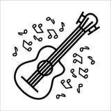 Concepto del ejemplo del vector de instrumento de música de la guitarra de la flauta Negro en el fondo blanco stock de ilustración
