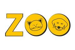 Concepto del ejemplo del vector de la tienda de la historieta del parque zoológico de logotipo con el perro y el gato en color am ilustración del vector