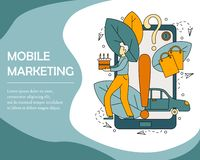 Concepto del ejemplo del vector de márketing móvil stock de ilustración