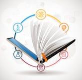 Concepto del Elearning - sistema de aprendizaje en línea - crecimiento del conocimiento ilustración del vector