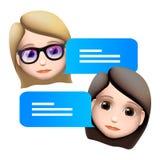 Concepto del emoji de la mujer del bot de la charla Diseño moderno del icono del personaje de dibujos animados del estilo Servici stock de ilustración