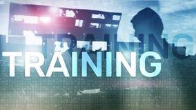 Concepto del entrenamiento del asunto Aprendizaje electr?nico de entrenamiento de Webinar Concepto financiero de la tecnolog?a y  imagen de archivo