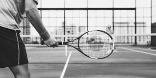 Concepto del entrenamiento del competidor de los jugadores de tenis imagen de archivo libre de regalías
