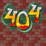 Concepto del error 404 con la pared de ladrillo Imagen de archivo