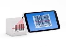 Concepto del escáner del código de barras de Smartphone Imagenes de archivo
