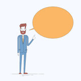 Concepto del espacio de la copia de la burbuja de la caja de Point Finger Chat del hombre de negocios que piensa nueva idea Fotos de archivo