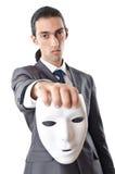 Concepto del espionaje industrial - hombre de negocios enmascarado Imágenes de archivo libres de regalías