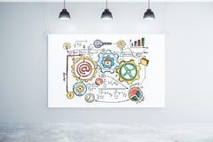 Concepto del esquema del negocio en el cartel grande blanco en sitio vacío con l Imagen de archivo