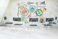 Concepto del esquema del negocio en el muro de cemento en sitio ligero con chai Imagen de archivo