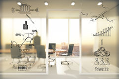 Concepto del esquema del negocio en la pared transparente en la sala de conferencias a Imagen de archivo