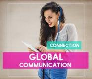 Concepto del establecimiento de una red de Woman Communication Connection del estudiante imágenes de archivo libres de regalías