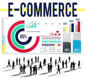 Concepto del establecimiento de una red del márketing de Digitaces del negocio del comercio electrónico stock de ilustración