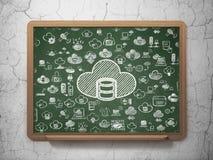 Concepto del establecimiento de una red de la nube: Base de datos con la nube en fondo del consejo escolar Imagen de archivo
