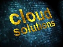 Concepto del establecimiento de una red: Soluciones de la nube en fondo digital Fotos de archivo