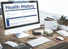 Concepto del expediente de historia de la demanda de la forma de revisión médica imagenes de archivo