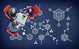 Concepto del experimento de la ciencia de la química de la estructura molecular Imagenes de archivo