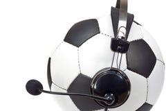Concepto del fútbol, bola como comentarista Imágenes de archivo libres de regalías