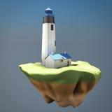 Concepto del faro en la isla 3d rinden los cilindros de image Fotos de archivo