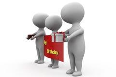 concepto del feliz cumpleaños del hombre 3d Foto de archivo libre de regalías