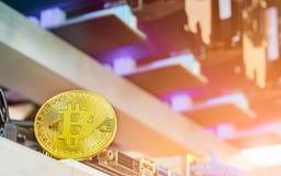 Concepto del fondo de Bitcoin Cryptocurrency - bitcoin de oro con Imagen de archivo