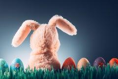 Concepto del fondo de Pascua con el juguete del conejito Fotografía de archivo libre de regalías