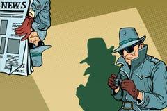 Concepto del fondo de Spy del detective stock de ilustración