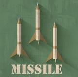 Concepto del fondo del icono del misil del Grunge Vector Fotos de archivo libres de regalías