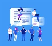Concepto del foro Hombres de negocios en charla del web Comentarios del equipo y concepto del vector del comentario stock de ilustración