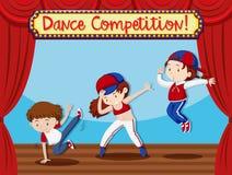Concepto del funcionamiento de Compeition de la danza stock de ilustración