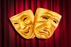 Concepto del funcionamiento de teatro - máscaras foto de archivo libre de regalías