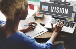 Concepto del futuro de la blanco de la misión de la inspiración de la dirección de Vision fotografía de archivo