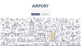 Concepto del garabato del aeropuerto libre illustration
