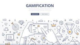 Concepto del garabato de Gamification stock de ilustración