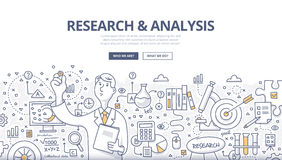 Concepto del garabato de la investigación y del análisis stock de ilustración