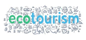 Concepto del garabato de la palabra del turismo ecológico stock de ilustración