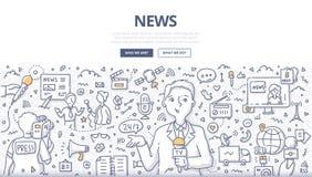 Concepto del garabato de las noticias libre illustration