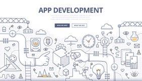 Concepto del garabato del desarrollo de aplicaciones Imágenes de archivo libres de regalías