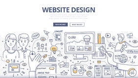 Concepto del garabato del diseño web Fotos de archivo