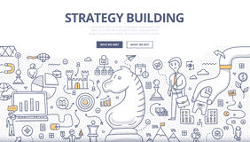 Concepto del garabato del edificio de la estrategia
