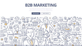 Concepto del garabato del márketing de B2B Fotos de archivo