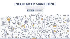 Concepto del garabato del márketing de Influencer