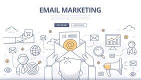 Concepto del garabato del márketing del correo electrónico Foto de archivo